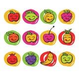 Fruits colorés drôles, icônes de vecteur Photographie stock