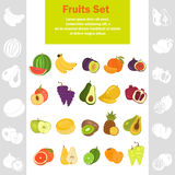 Fruits color flat icons set for web and mobile design. Fruits color flat icons set Stock Photography