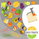 Fruits color flat icons set for web and mobile design. Fruits color flat icons set Stock Photo