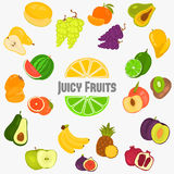 Fruits color flat icons set for web and mobile design. Fruits color flat icons set Royalty Free Stock Photos