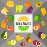 Fruits color flat icons set for web and mobile design. Fruits color flat icons set Royalty Free Stock Image