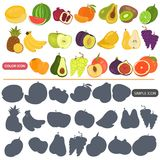 Fruits color flat and simple icons set for web and mobile design. Fruits color flat and simple icons set Royalty Free Stock Photography