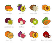 Fruits color icons set Stock Images