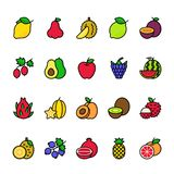 Color line icon set of Fruits royalty free illustration