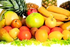 Fruits combination. Fresh Vegetables, Fruits and other foodstuffs. Shot in a studio Royalty Free Stock Images