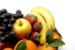 Fruits composition. With orange, grape fruit, apple, strawberry, banana and kiwi on white background Stock Photo