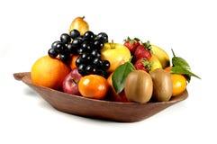 Fruits composition. With orange, grape fruit, apple, strawberry, banana and kiwi on white background Royalty Free Stock Image