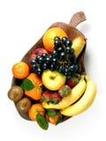 Fruits composition. With orange, grape fruit, apple, strawberry, banana and kiwi on white background stock images