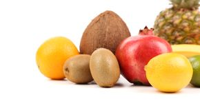 Fruits composition isolated on a white background Stock Photos