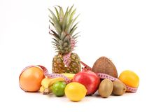 Fruits composition with tape measure. Royalty Free Stock Photography