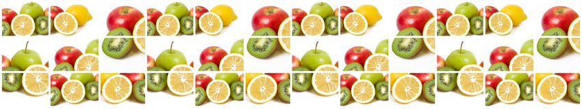 Fruits in a composition on a white background. Lemon with apples and kiwi on white background. Fruits with carrots on a white back Stock Images