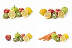 Fruits in a composition on a white background. Lemon with apples and kiwi on white background. Stock Image