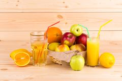 Fruits composition on wood. Stock Image