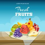 Fruits concept vector background. Food poster template vector illustration