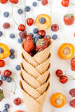 Fruits in cone Stock Photo