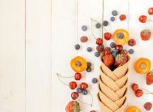 Fruits in cone Royalty Free Stock Images