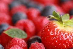Fruits with copy space. Focus on the strawberry, berries in the background forming a copy space Stock Photography