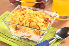 Fruits with Corn Flakes and Milk Stock Image