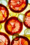 Fruits coupés en tranches colorés mélangés orange, chaux, pamplemousse, citron le fond de retour s'est allumé photographie stock libre de droits