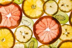 Fruits coupés en tranches par transparent sur le fond blanc Photographie stock libre de droits