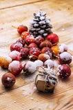 fruits couverts de neige des pommes naines Image stock