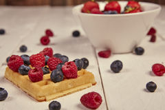 Fruits in a cup. Different berries on a waffle and in a bowl on a white wooden table Stock Images
