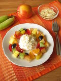 Fruits with curd cheese Stock Images