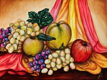Fruits on the curtains. White and black grapes and apples. Acrylic color on paper. Beautiful picture. Lovely background. Landscape stock illustration