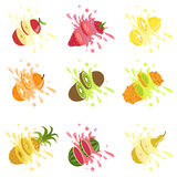 Fruits Cut In The Air Splashing The Juice Royalty Free Stock Photo
