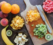 Fruits cut for a salad Stock Images