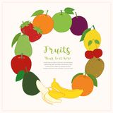 Fruits cute banner background template with copy space for promotional or sales event vector illustration