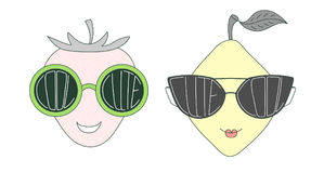 Fruits in cute and cool sunglasses Royalty Free Stock Photos