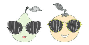 Fruits in cute and cool sunglasses Stock Image
