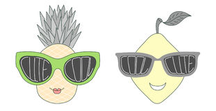 Fruits in cute and cool sunglasses Royalty Free Stock Photo