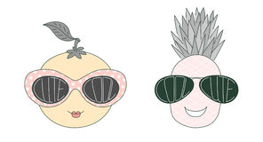 Fruits in cute and cool sunglasses Stock Images