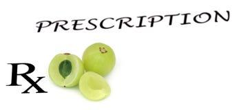 Fruits d'Amla dans une prescription Image stock
