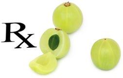 Fruits d'Amla prescrits en tant que médecine parallèle Images libres de droits