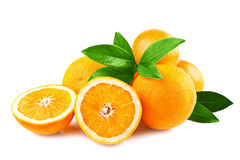 Fruits d'oranges d'isolement sur le blanc Image libre de droits