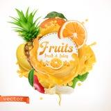 Fruits, 3d vector label. On white background vector illustration