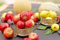 Fruits dans des cuvettes antiques (argent) Photographie stock
