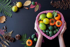 Fruits dans le panier Image libre de droits