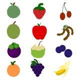 Fruits dans le style de bande dessinée, Photo stock