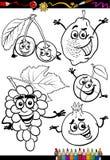 Fruits de bande dessinée réglés pour livre de coloriage Image libre de droits