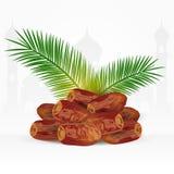 Fruits de date avec des palmettes sur le fond blanc Nourriture de Ramadan Iftar illustration libre de droits