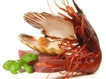 Fruits de mer avec la crevette rose - crevette Carabinero image libre de droits