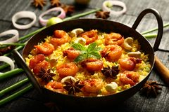 Fruits de mer-biryani, - cuisine indienne images stock