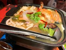 Fruits de mer blancs Tom Yum Thailand Cuisine photographie stock