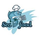 Fruits de mer D'isolement sur le fond blanc Vecteur Logo Design Template de Seafood Company Image libre de droits