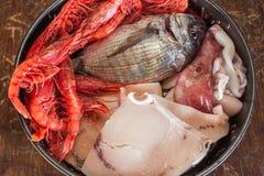 Fruits de mer dans la casserole Image stock