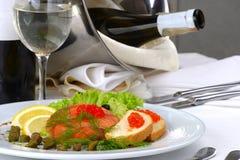 Fruits de mer de configuration de table de banquet Images libres de droits